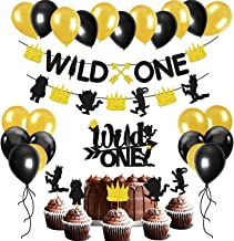Glitter Wild One Party Decoration Set Wild One Arrow Banner,Wild Things Feather Cake And Cupcake Toppers,Black And Gold Balloons Kids 1st Birthday Party Supplies Kits Baby Shower