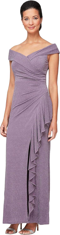 Alex Evenings Long Off-The-Shoulder Dress with Cascade Ruffle Detail Skirt Metallic Knit