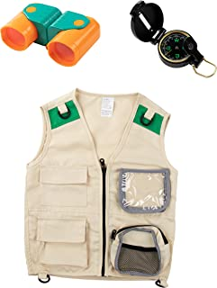 Blue Panda 3-Piece Set Kids Outdoor Nature Adventure Explorer Kit - Vest, Binoculars, and Compass