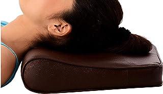 Almohada de espuma viscoelástica, masaje cervical, almohada para el cuello, almohada suave y lavable, hipoalergénica, funda Rexine, color marrón