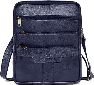 Leather Messenger Bag for Men (Blue)