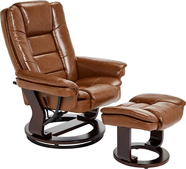 JC Home Argus Ultra Plush Bonded Leather Swiveling Recliner With Mahogany Wood Base And Matching Ottoman Cinnamon Spice