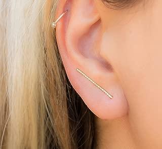 Thin Ear Climber Earrings Long Gold Filled Climbers Crawler Bar Stud