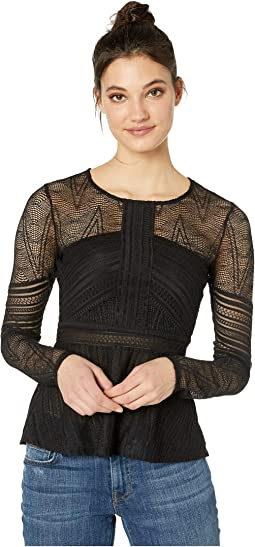 Mixed Lace Peplum Top