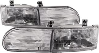 HEADLIGHTSDEPOT Chrome Housing Halogen Left and Right Headlights Pair Compatible With Fleetwood American Tradition 1996-2000 Motorhome RV