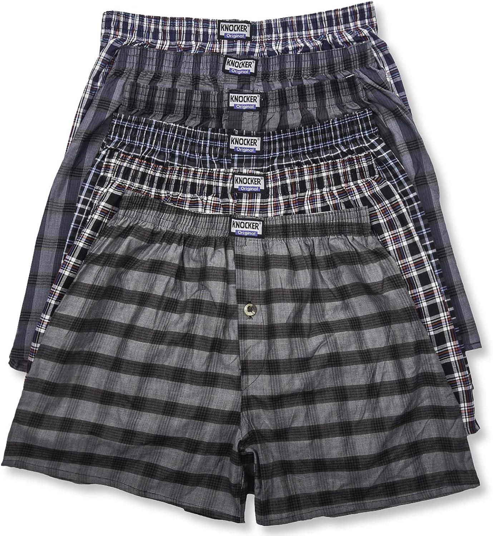 Knocker Men's It is very popular 6 Cotton National uniform free shipping Boxer Plaid Shorts