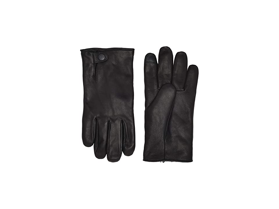 UGG Tabbed Splice Vent Leather Gloves with Conductive Tips (Black) Extreme Cold Weather Gloves