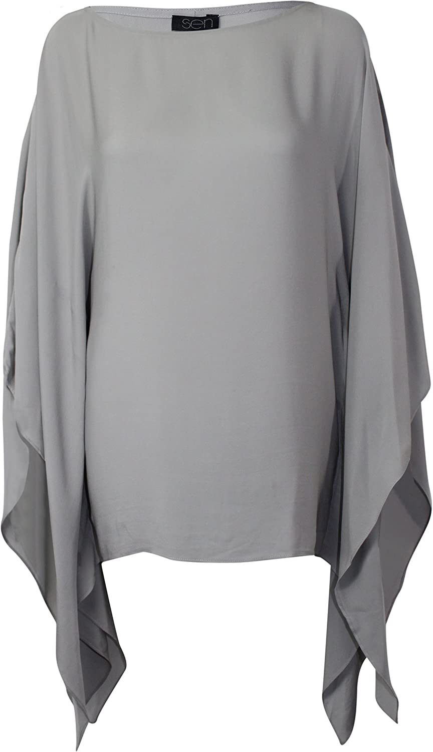 SEN Womens Silk Poncho Top Grey