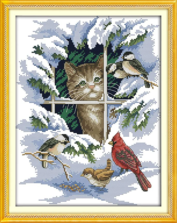 YEESAM ART New Cross Stitch Kits Advanced Patterns for Beginners Kids Adults - Cat And Birds 11 CT Stamped 39×47 cm - DIY Needlework Wedding Christmas Gifts