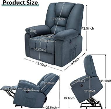 oneinmil Electric Power Lift Recliner Chair for Elderly-Up to 330 LBS Fabric Massage Sofa with Heat, Remote Control, 3 Positi