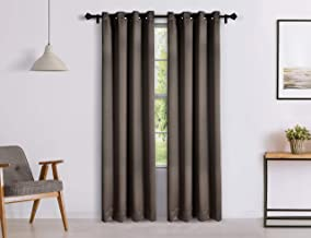 Amazon Brand - Solimo Room Darkening Blackout Door Curtain, 7 Feet, Set of 2 (Brown)