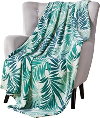 VCNY Decorative Throw Blanket: Large Lush Palm Leaf Design Accent for Couch or Bed, Colors: Green Blue White