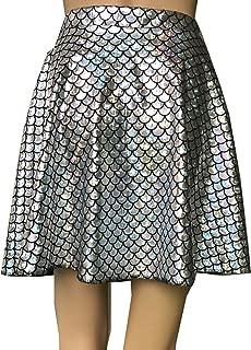 Mermaid Shiny Sparkle Fish Scale Print Flared Skater Mini Skirt Girls Women Adult