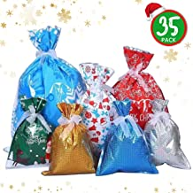 Aulinx 35 Pcs Christmas Gift Wrapping Bags Large Xmas Gift Bags Holiday Treats Bags Christmas Party Favor Goody Bags with Ribbon Ties