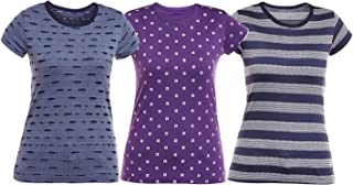 VIMAL JONNEY Multicolor Cotton Tshirts for Women (Pack of 3) (LT_KF_NV_PRT5PU_STR_NV_03-P)