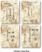 Original Gibson Guitars Drawings - Wall Decor - Music Artwork - Set of 4 8 x 10 Unframed Patent Prints - Great Gift for Musicians and Electric Guitar Players