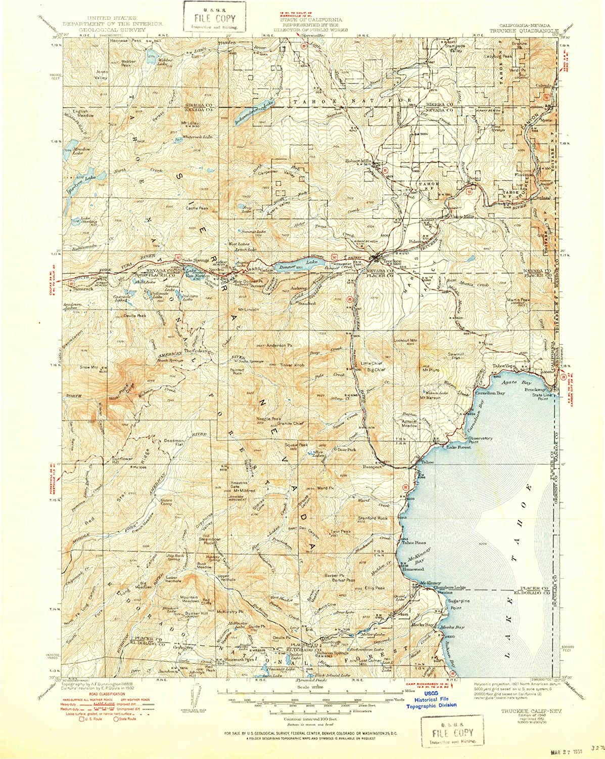 Truckee CA topo map, 1 125000 Scale, 30 X 30 Minute, Historical, 1940, Updated 1951, 20.7 x 16.5 in