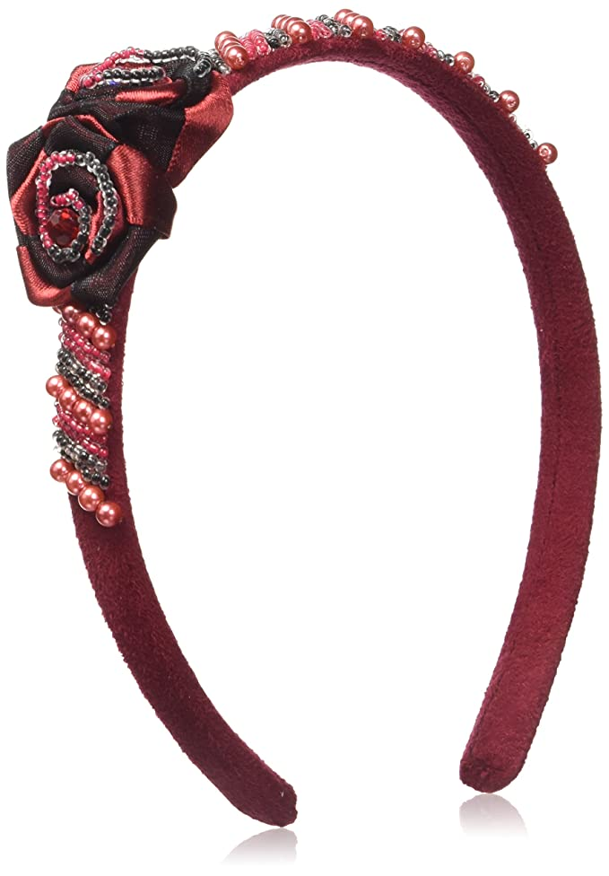 Caravan Head Band Decorated In Two (2) Tone Wrapped Rose And Multiple Beads In Red And Black