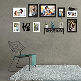 Art Street 8 Black & White Wall Photo Frames Collage Picture Frames Wall Gallery Kit for Wall and Home with PVC Shelf Mix ...