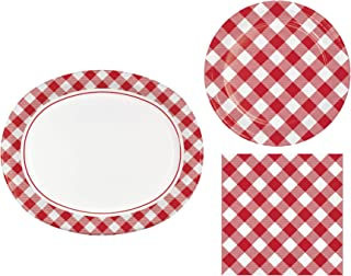 Classic Red and White Gingham Party Supplies for up to 8 People | Bundle Includes Paper Plates and Napkins