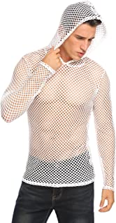 Mens Transparent Sexy Shirt See Through Undershirts Fishnet Muscle Workout Hooded Tank Top