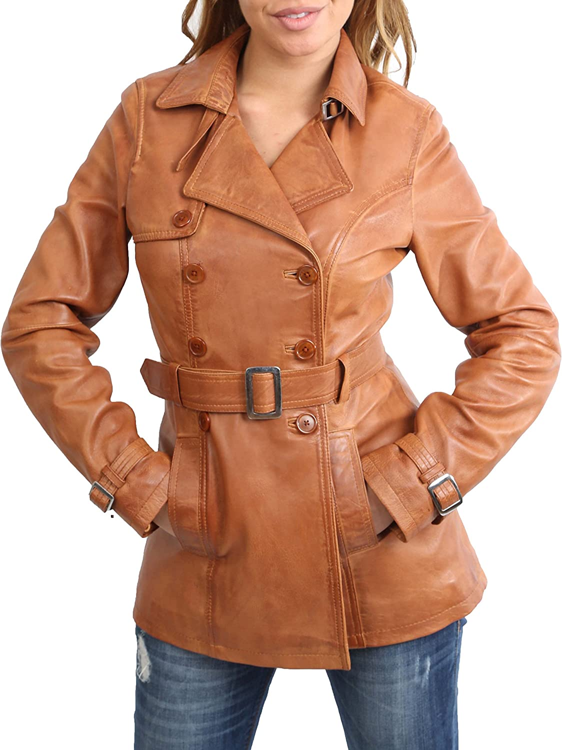 Ladies Genuine Leather Jacket Womens Double Breasted Trench Coat Olivia Tan