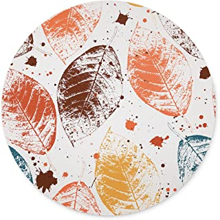 TuMeimei Non-Slip Rubber Round Mouse Pad, Colored Autumn Leaves and blots Design Round Mouse pad (7.87 inch x 7.87 inch)