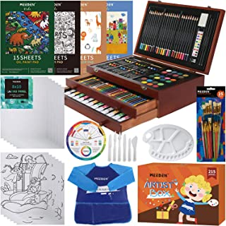 MEEDEN Deluxe Wood Box Art Set, 215-Piece Drawing Supplies Kit with Crayons, Oil Pastels, Colored Pencils, Paints, Pads, P...
