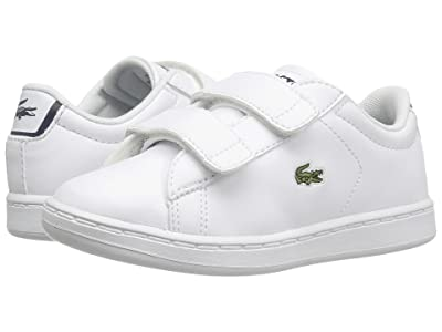 Lacoste Kids Carnaby Evo HL (Toddler/Little Kid) (White/Navy) Kids Shoes