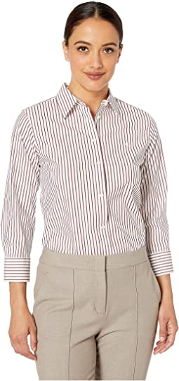 Petite Striped No-Iron Button Down Shirt