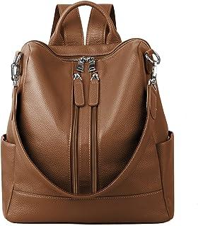YALUXE Women's Convertible Real Leather Backpack Versatile Shoulder Bag (Upgraded 3.0)