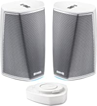 Denon HEOS 1 HS2 Compact Portable Wireless Speaker Pair with WiFi & Bluetooth, Class D Amplifiers & HEOS App with HEOS 1 Go Pack with Lithium-ion Rechargeable Battery - Outdoor heos Package in White