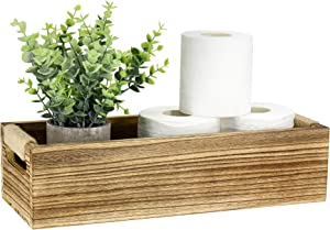 Bathroom Decor Box Toilet Paper Holder Wood Tank Box Paper Storage Basket with Artificial Flower Bathroom Kitchen Table Counter Funny Farmhouse Rustic Home Decor