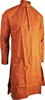 Teardrop Print Men's Formal Fitted Kurta Shirt with Mandarin Collar