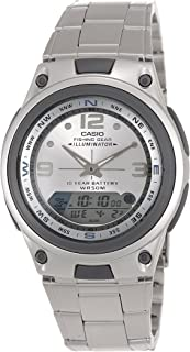 Casio Mens Quartz Watch, Analog-Digital Display and Stainless Steel Strap AW-82D-7AVDF