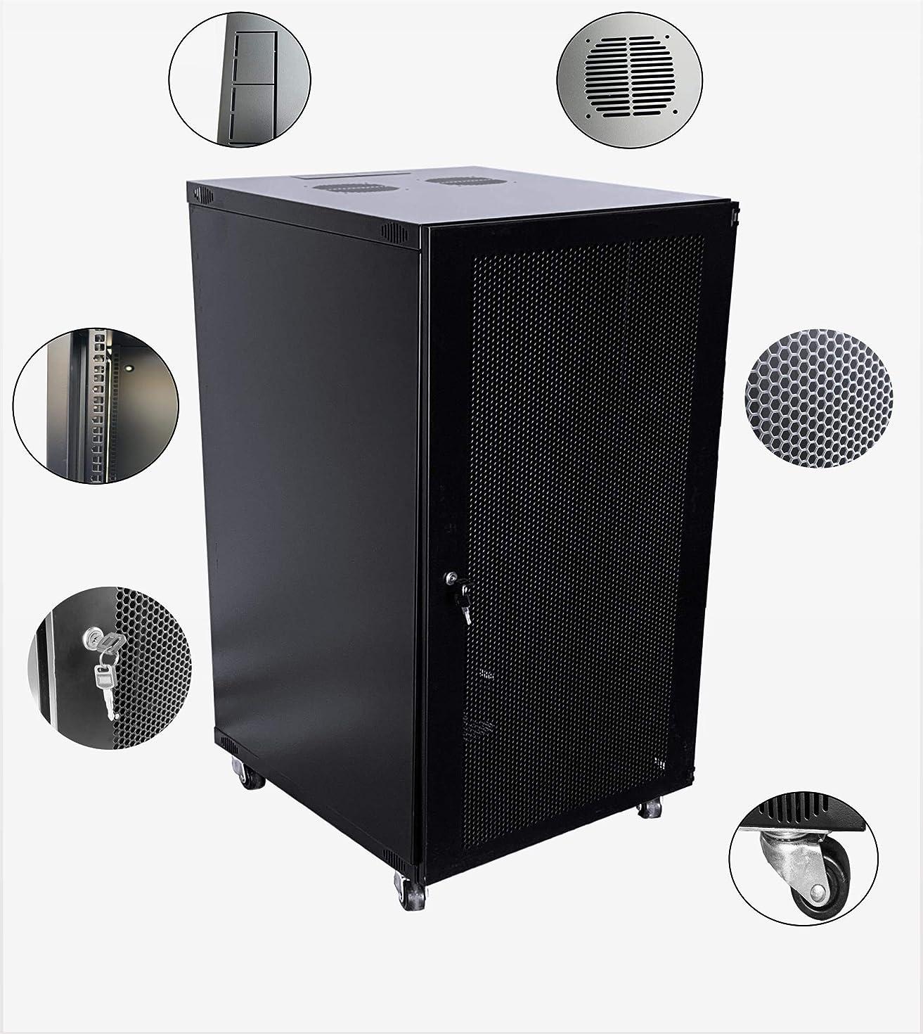 Raising Electronics 22U Wall Mount Network Server Cabinet Rack Enclosure Ventilated Door Lock 600mm Deep (22U)