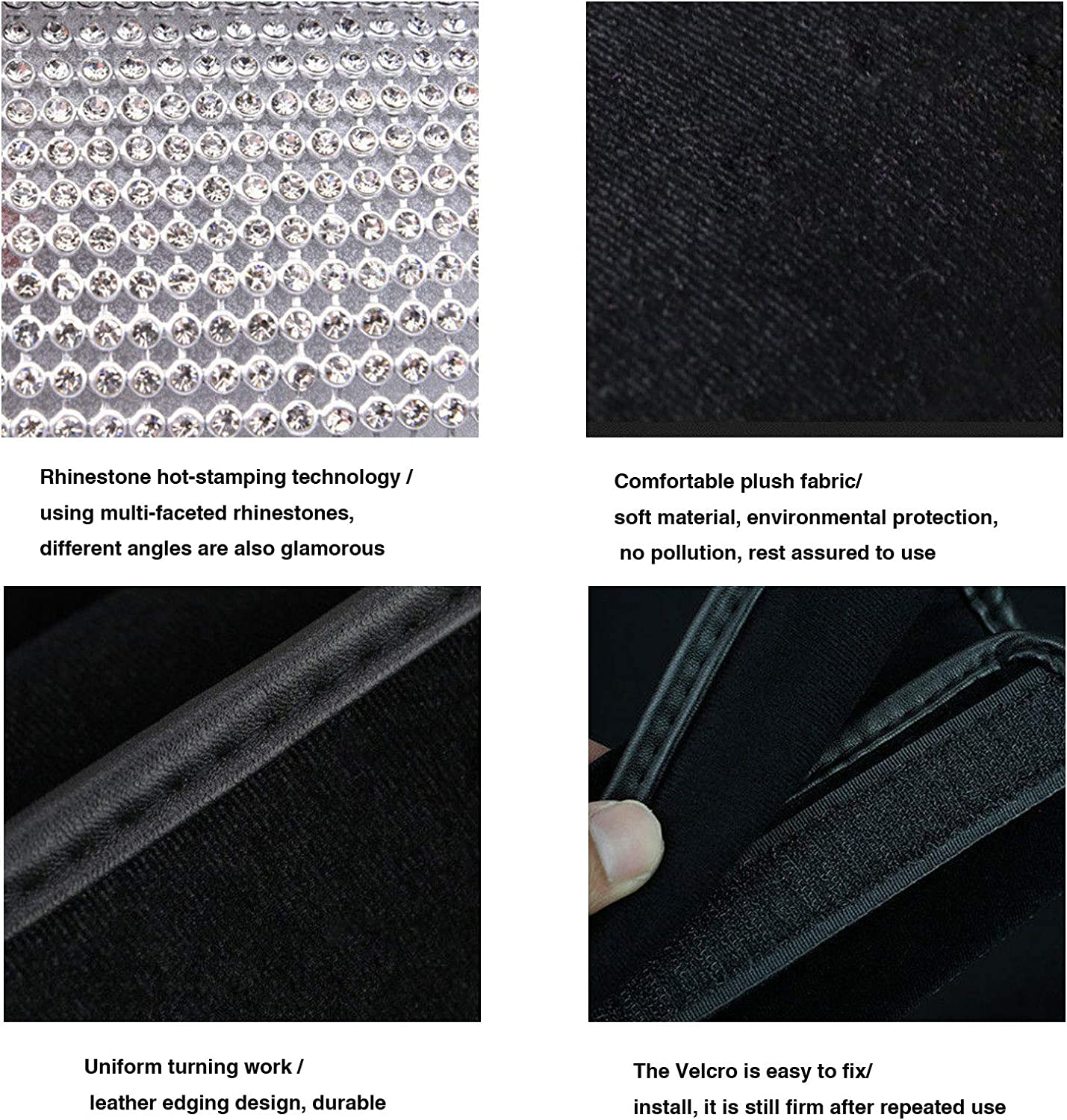 Soft Plush Luster Crystal Arm Rest Padding Protective Case Diamond Car Decor Accessories for Women Silver Crystals Bling Bling Auto Armrest Console Cushion