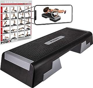 POWRX - Step Fitness Professionale da Aerobica (89 x 34 cm) - Altezza Regolabile + PDF Workout con 20 Esercizi (Nero)