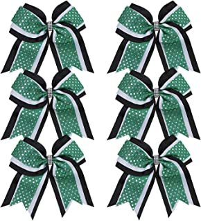 Cheerleader Bows 8 Inch 3 Layers 6 Pcs Ponytail Holder Jumbo Cheerleading Bows Hair Elastic Hair Tie for High School College (Black/White/Green)
