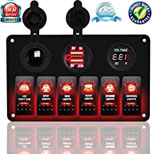 DCFlat 5 Pin 3 Gang / 4 Gang / 6 Gang Car Marine Boat Circuit RV LED Toggle Rocker Switch Panel Breaker Voltmeter with Fuse Double USB for RV Car Boat Blue/Red / Green Light