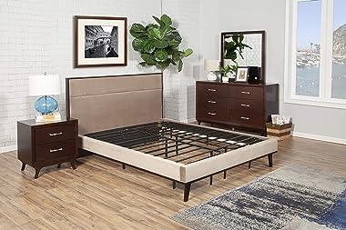 Hollywood Bed Frames Bedder Base de lit pour lit 1 place et demie Noir
