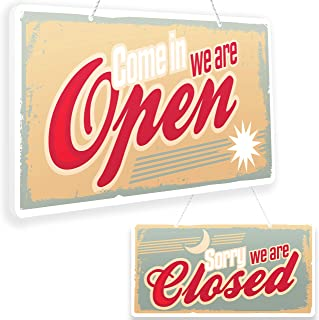 Open Closed Sign - Reversible Double Sided with Rope for Hanging - Come In We're Open - Sorry We're Closed Signs Decor - Open and Closed Sign for Business - Decorative Open-Closed Sign 13 х 7 inches