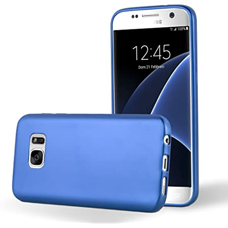 Cadorabo Hülle Für Samsung Galaxy S7 In Metallic Blau Elektronik