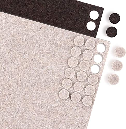 """popular HongWay high quality 360pcs Small Felt Pads 3/8"""" Diameter, Heavy Duty Self Adhesive 5mm Thick Cabinet Doors Drawers Lids popular Round Felt Bumpers, Including 180pcs Beige and 180pcs Brown outlet sale"""