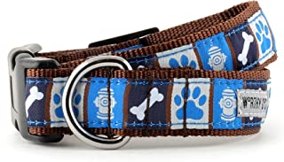 The Worthy Dog A Dog's Life Pattern Designer Adjustable and Comfortable Nylon Webbing, Side Release Buckle Collar for Dogs - Fits Small, Medium and Large Dogs, Blue Color