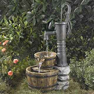 "33"" Old Fashioned Western Style Water Pump Outdoor Patio Garden Water Fountain"