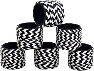 Alpha Living Home Classic Braided Cotton Napkin Ring Dinning Table Parties Occasion Everyday Family Gatherings, complement for Dinner Table,Set of 6 - Black/White