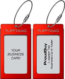 Luggage Tags Business Card Holder TUFFTAAG PAIR Travel ID Bag Tag - Scarlet