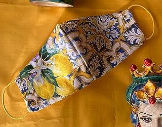 Mascherina artigianale lavabile limoni sicilia teste di moro cotone con tasca per filtro maschera protezione facciale