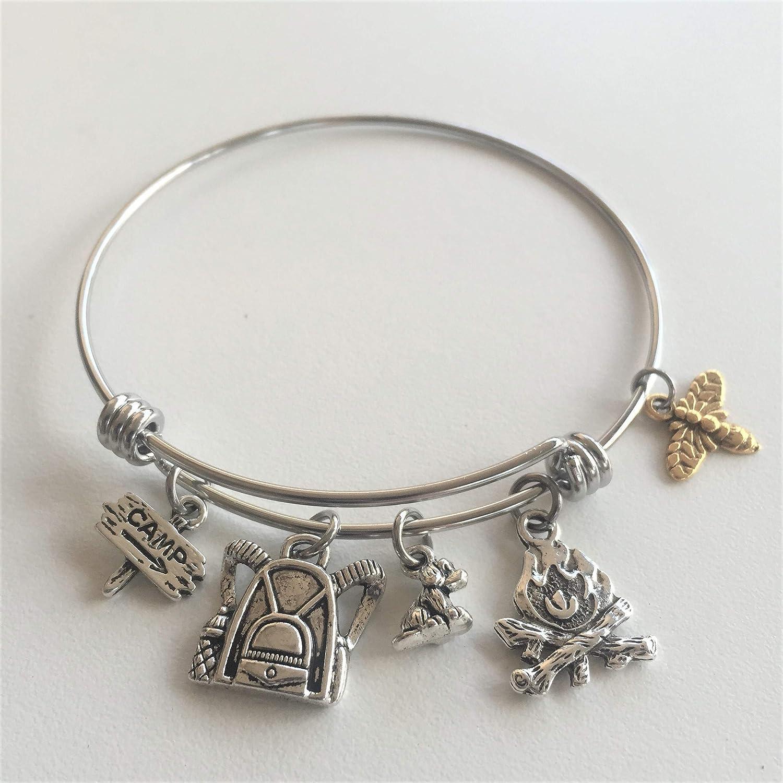 Personalized Camping Adventure Travel Charm Bracelet for Financial sales sale Over item handling ☆ Hi Gift